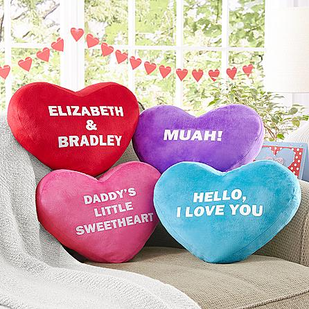 Plush Heart Pillow with Candies